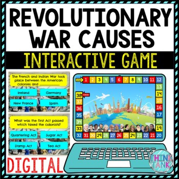 Revolutionary War Causes Review Game Board   Digital   Google Slides