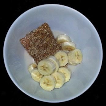 Monday Breakfast - shredded wheat, banana, almond milk