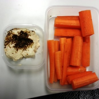 Monday Snack - carrots and hummus with dukkah spice