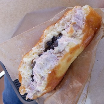 Afters Icecream - milky bun with churro icecream and chocolate chips
