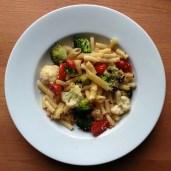 pasta bake with broccoli,cauliflower, tomatoes