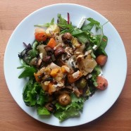 Monday DINNER - mixed green salad, roasted veggies and chicken