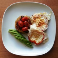 Tuesday DINNER - quinoa cake with eggs fried in red bell pepper, baby plum tomatoes, avocado
