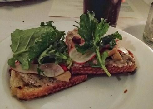 BRUSCHETTA- pork belly butter, pickled wild foraged mushrooms, radish, watercress