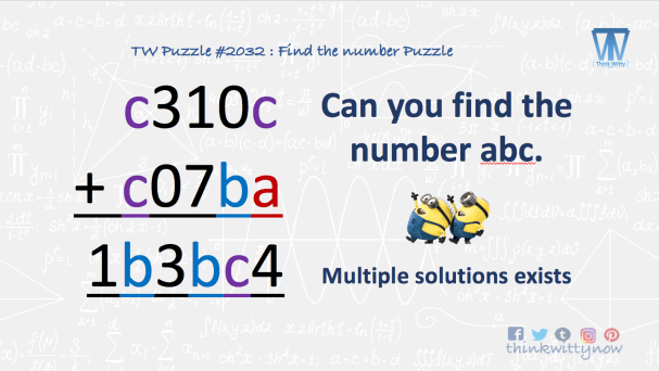 Puzzle 2032 thinkwitty.com - Can you find the number abc