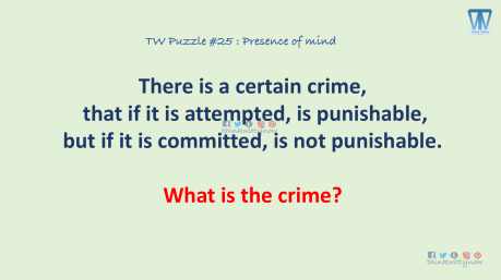 Puzzle 25 thinkwitty.com - There is a crime that if attempted is punishable, not if committed.