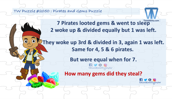 Puzzle 2050 thinkwitty.com - Pirates and The Gems Riddle