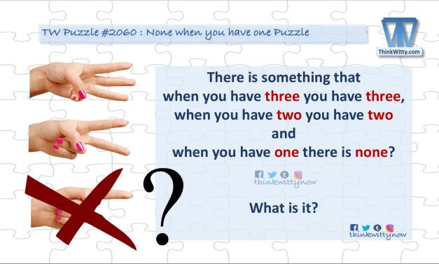 Puzzle 2060 thinkwitty.com - None when you have one Puzzle