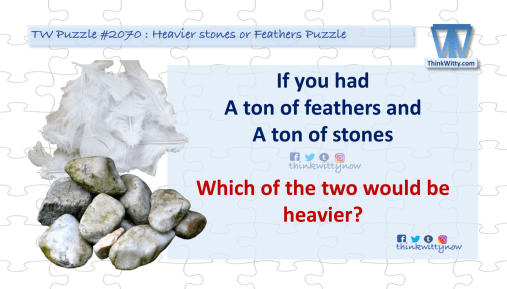 Puzzle 2070 thinkwitty.com - Heavier Stones of Feathers Puzzle Riddle