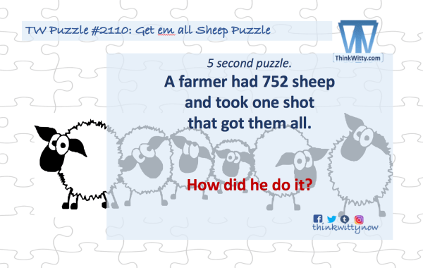 Puzzle 2110 thinkwitty.com - Get em all Sheep Riddle