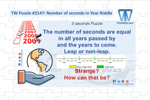 Puzzle 2147 thinkwitty.com - Number of seconds in an Year Puzzle RIddle