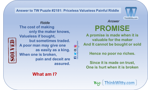 Answer to Puzzle 2181 thinkwitty.com - Priceless, Valueless, Painful Riddle - Presence of mind