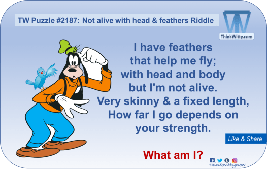 Puzzle 2187 thinkwitty.com - Not alive with Head and Feathers Riddle - Presence of mind