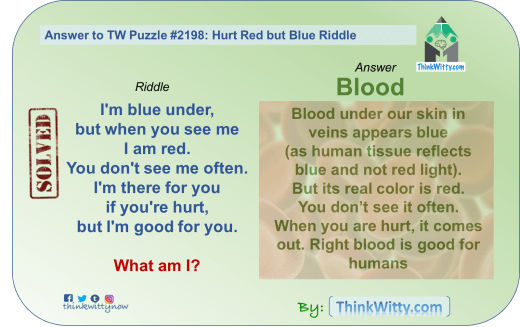 Answer to the Puzzle 2198 thinkwitty.com - Hurt Red and Blue Riddle - Presence of mind