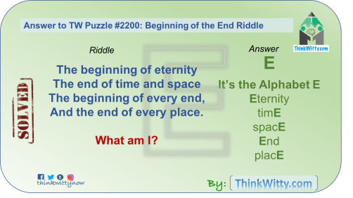 Answer to the Puzzle 2200 thinkwitty.com - Beginning of the End Riddle - Presence of mind