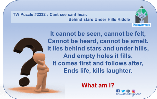Puzzle 2232 thinkwitty.com - Cant see Cannt Hear Behind stars Under Hills Riddle - Presence of mind