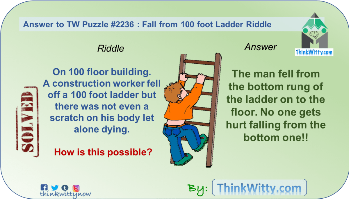 answer to the fall from 100 foot ladder riddle think witty