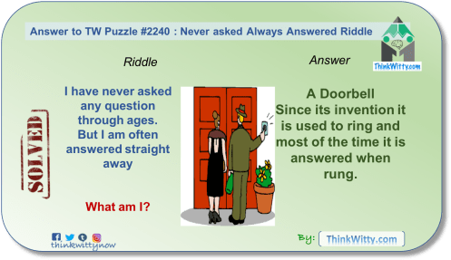Answer to the Puzzle 2240 thinkwitty.com - Never Asked Always Answered Riddle - Presence of mind