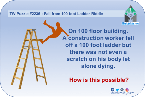 Puzzle 2236 thinkwitty.com - Fall from 100 Foot Ladder Riddle - Presence of mind