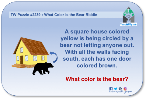 Puzzle 2239 thinkwitty.com - What Color is The Bear Riddle - Presence of mind
