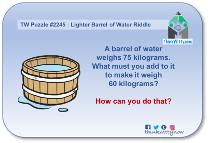 Puzzle 2245 thinkwitty.com - Lighter Barrel of Water Riddle - Presence of mind