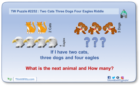 Puzzle 2252 thinkwitty.com - Two Cats Three Dogs Four Eagles Riddle - Presence of mind