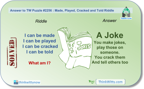 Answer to the Puzzle 2256 thinkwitty.com - Made, Played, Cracked and Told Riddle - Presence of mind