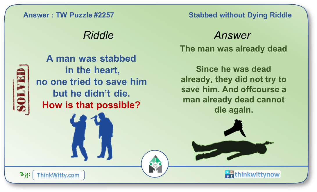 Answer to the Puzzle 2257 thinkwitty.com - Stabbed Without Dying Riddle - Presence of mind