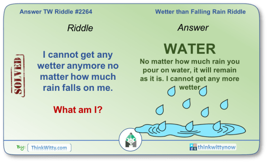Answer to the Puzzle 2264 thinkwitty.com - Wetter than Falling Rain Riddle
