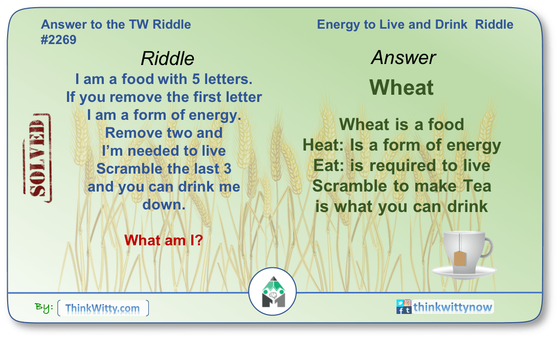 Answer to the Energy to Live and Drink Riddle - Think Witty