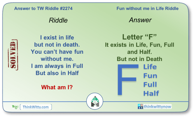 Answer to the Puzzle 2274 thinkwitty.com - Fun without me in Life Riddle
