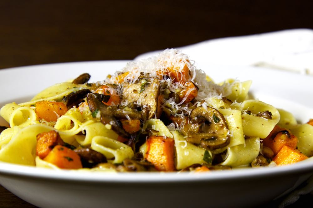 Pappardelle with Squash, Mushrooms, Chestnuts and Sage.