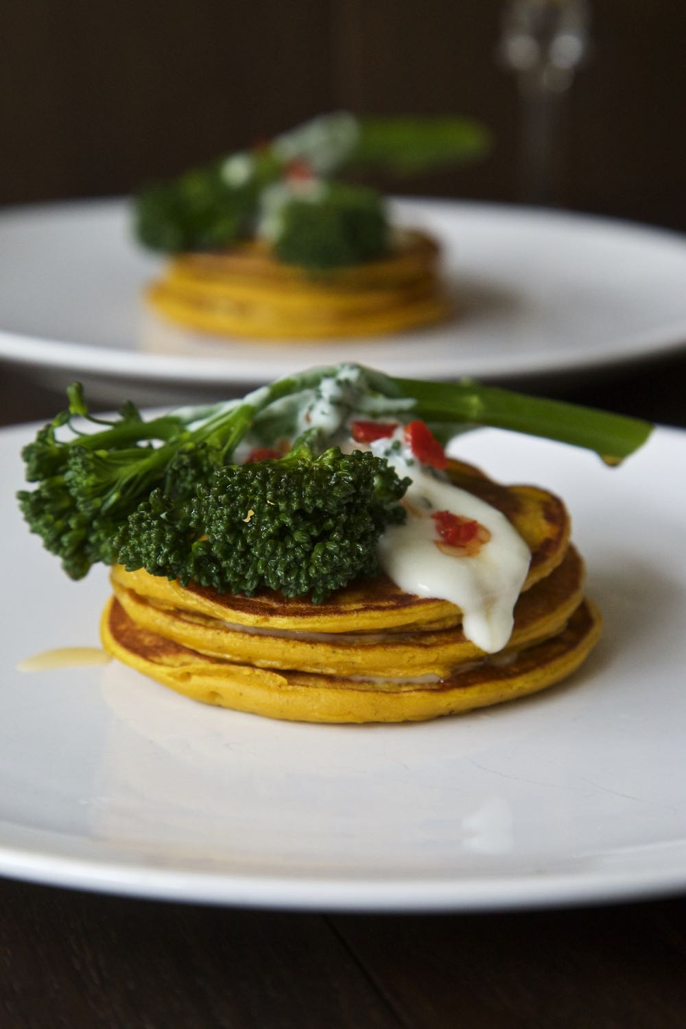 Pumpkin Pancakes with Chilli Fried Tenderstem® Broccoli and Somerset Goat's Cheese