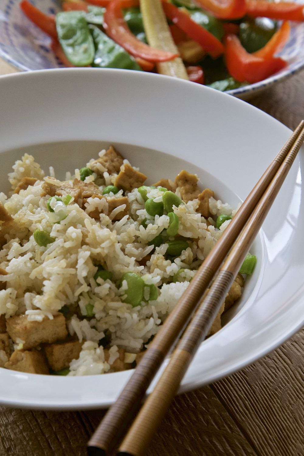 Easy Vegan Fried Rice with Tofu Pieces