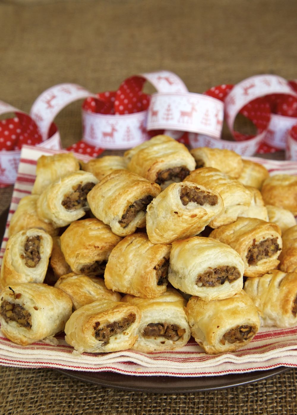 The best Vegan Sausage Rolls - chestnut, mushroom and red wine encased in crispy, flaky, puff pastry!