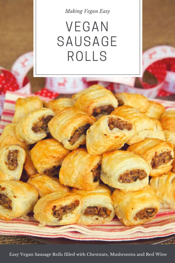 Super easy vegan sausage rolls filled with chestnuts, red wine and mushrooms