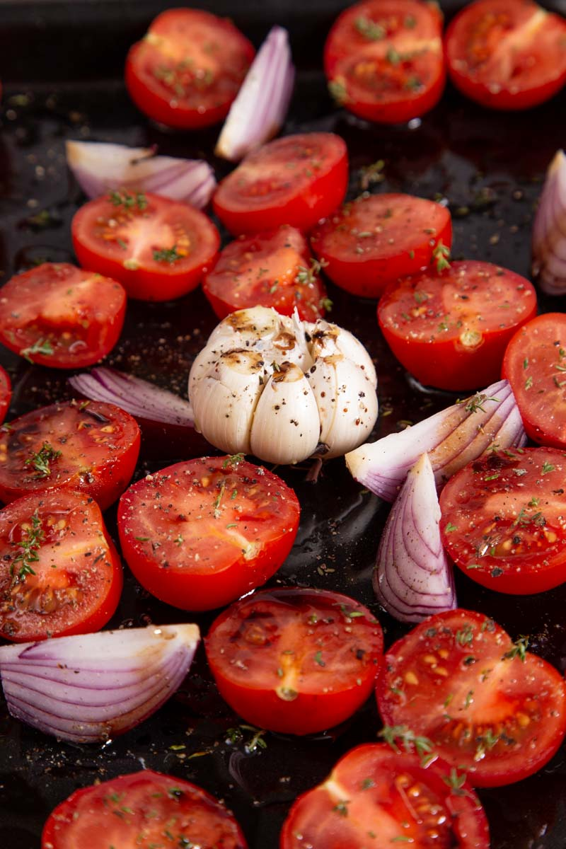 Roasted tomatoes and roasted garlic with thyme and balsamic vinegar