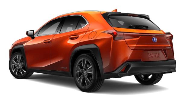 2019 Lexus UX exterior rear Cadmium Orange