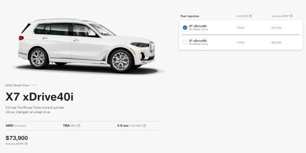 2019 BMW X7 Engine Options