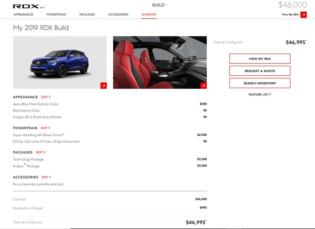 2019 Acura RDX build