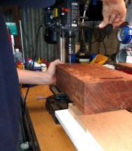 using vertical drill for carriage bolt holes