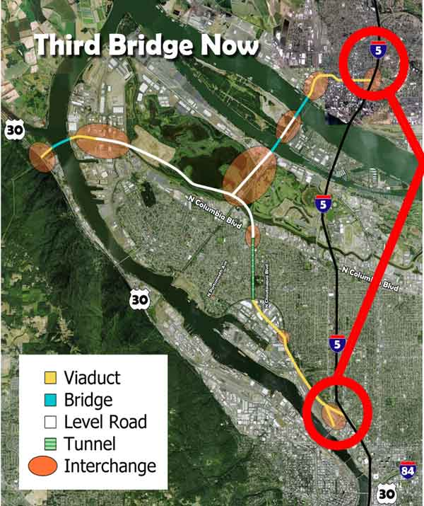 Third Bridge Now map showing the bridges, viaduct, roads, tunnel, and interchange.