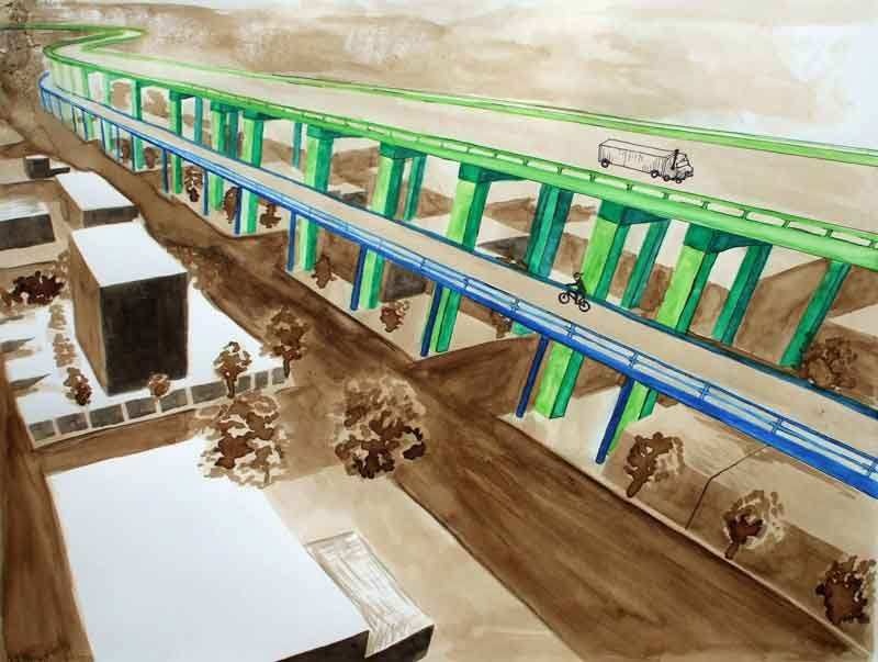 Artist's version of the Vancouver Viaduct showing multi-modal bike and ped access.