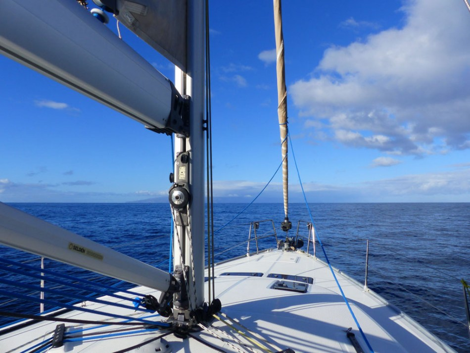 Our boat Mugen on the ocean