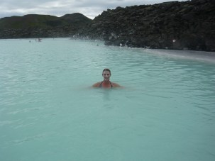 Taking a swim in the Blue Lagoon in Iceland
