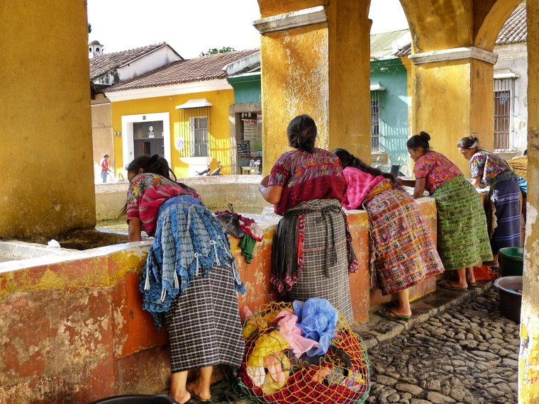 Mayan women washing in Antigua, Guatemala