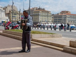 Accordion player along Vieux Port.
