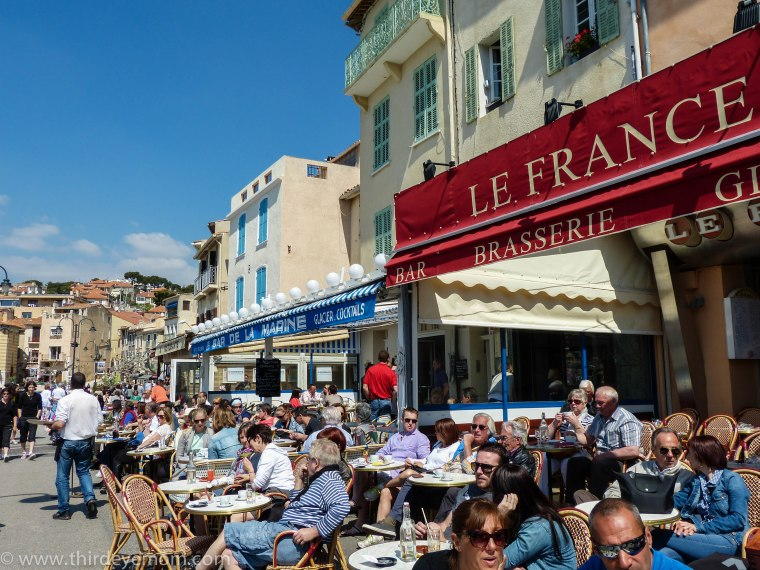 Cafes and restaurants along the seaside of Cassis