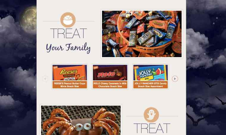 Screen Shot of huge chocolate company, Hershey's, Halloween page.