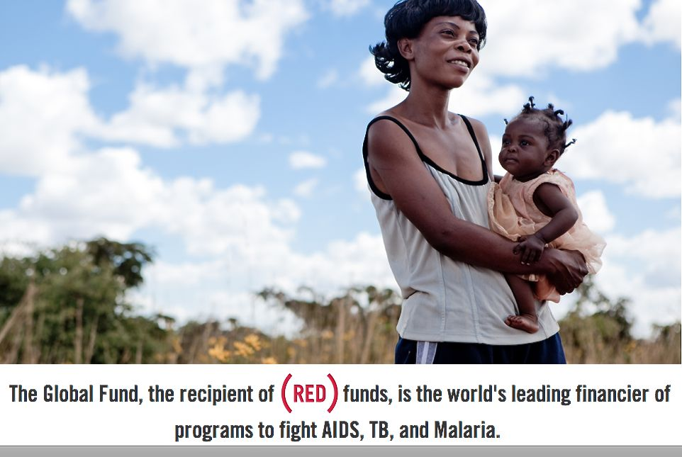 RED ad on website of woman and child.